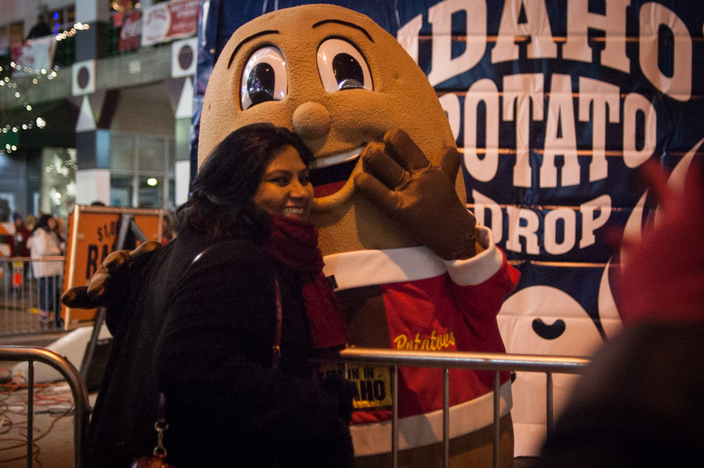 Girl Hugging Idaho Potato mascot
